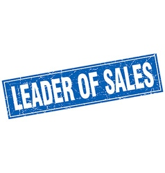 Leader of sales blue square grunge stamp on white vector