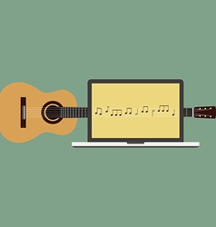 Acoustic guitar melody laptop flat design vector
