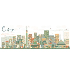 Abstract Cairo Skyline with Color Buildings vector image