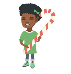 African little girl holding christmas candy cane vector