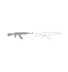 Assault rifle grey set icon vector