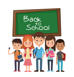 back to school group student smiling with vector image vector image