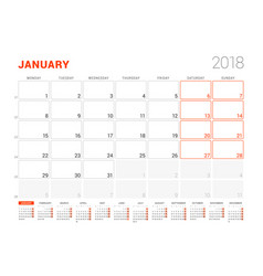 Calendar template for 2018 year january business vector