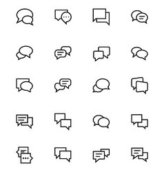 Chat messages line icons 3 vector