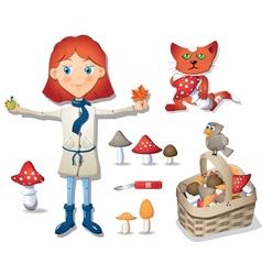 Cute little girl - mushroomer vector