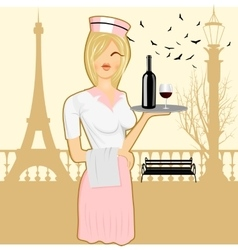 Cute waitress holding serving tray vector