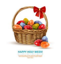Easter wicker basket realistic image vector