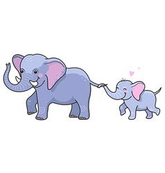 elephant mom vector image vector image