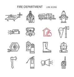 Fire safety contour icons vector
