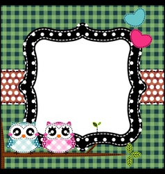 Frame of cute owls on branch vector image