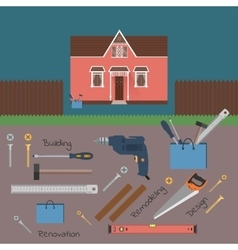 Hand tools for home renovation and construction vector