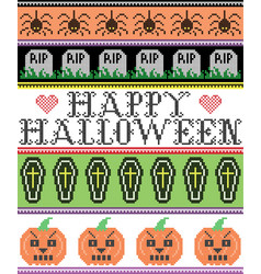Happy halloween with spider coffin grave pattern vector