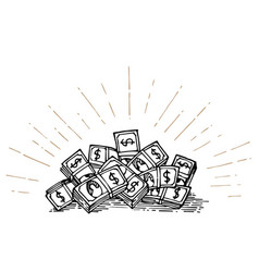Heap of money hand drawing vector
