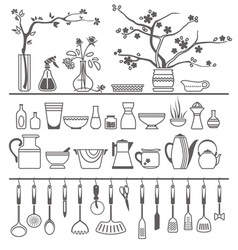 kitchen tools and utensils vector image vector image