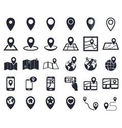 map pointer icons gps location symbol for vector image vector image