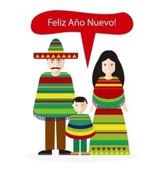 Mexicans people congratulations happy new year vector