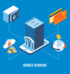 mobile banking flat 3d isometric vector image