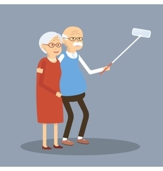 Old couple doing selfie vector