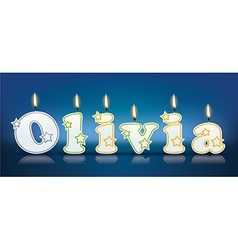 Olivia written with burning candles vector
