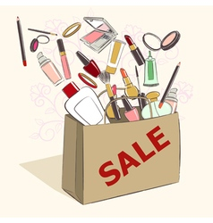 Paper bag with cosmetics on sale vector