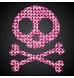 Pink sequin skull jolly roger eps 10 vector