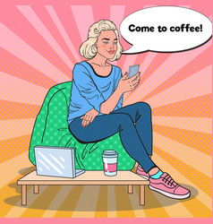 Pop art woman with coffee and smartphone in a cafe vector