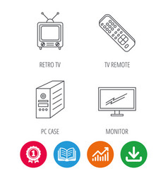Retro tv monitor and pc case icons vector