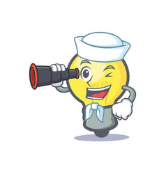 sailor light bulb character cartoon with binocular vector image vector image
