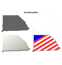 San bernardino county california outline map set vector
