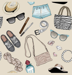 Seamless pattern fashion accessories set vector