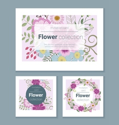 Set of invitation cards with colorful flowers 6 vector