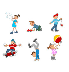 Six playing kids vector