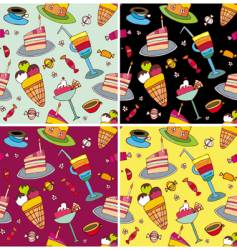 sweets pattern set vector image vector image