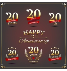 Twenty years anniversary signs collection vector