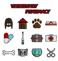 Veterinary pharmacy flat icons set vector image vector image