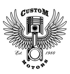 vintage piston with wings on white background vector image