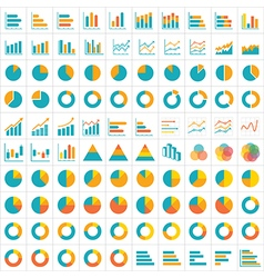 100 graph and chart infographic icon flat design vector image
