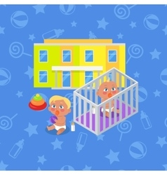 Kindergarten building isolated boy and girl vector
