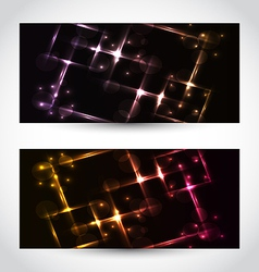 Set abstract cards with glow effects vector