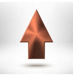 Up Arrow Sign with Bronze Metal Texture vector image