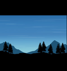 Silhouette of spruce with mountain landscape vector