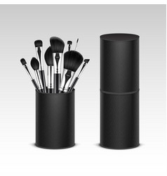 Set of black professional makeup brushes intube vector