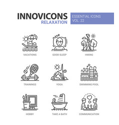 Relaxation - modern color single line icon vector