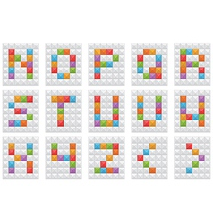 square alphabet on white set 2 vector image