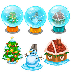 Glass balls christmas tree snowman and house vector