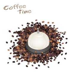A service bell with roasted coffee beans vector