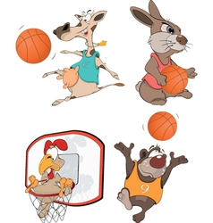 The basketball players clip art cartoon vector
