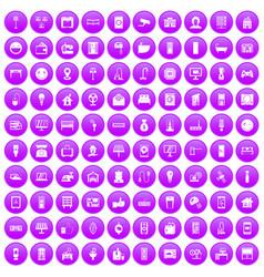 100 smart house icons set purple vector