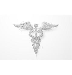 wireframe caduceus medical symbol mesh background vector image