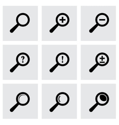 Black magnifier glass icons set vector